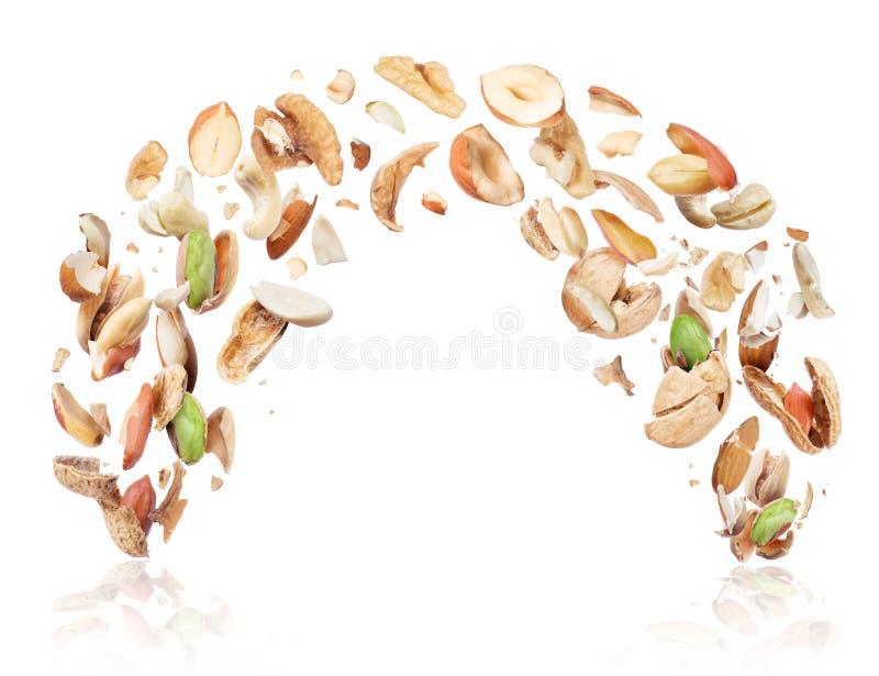 Diverse die noten in de lucht worden verpletterd, op witte achtergrond wordt geïsoleerd stock afbeeldingen