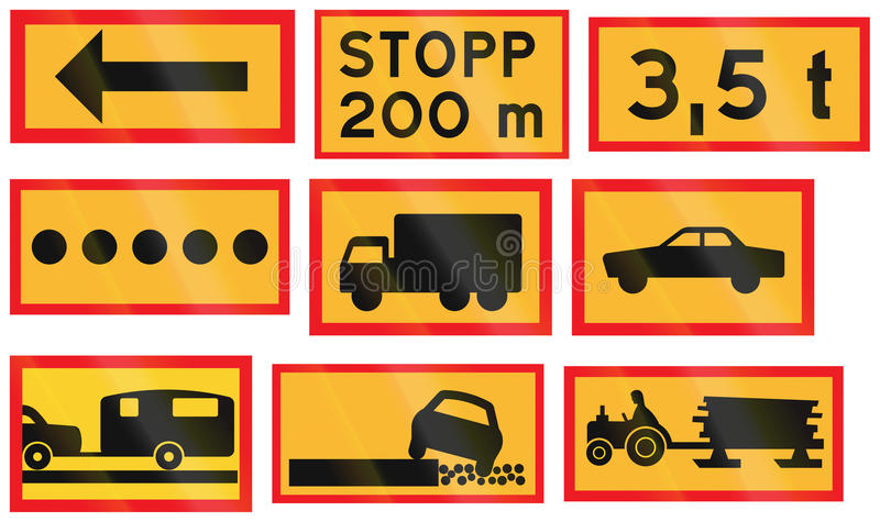 Diverse die Verkeersteken in Zweden worden gebruikt stock illustratie
