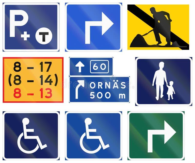 Diverse die Verkeersteken in Zweden worden gebruikt vector illustratie