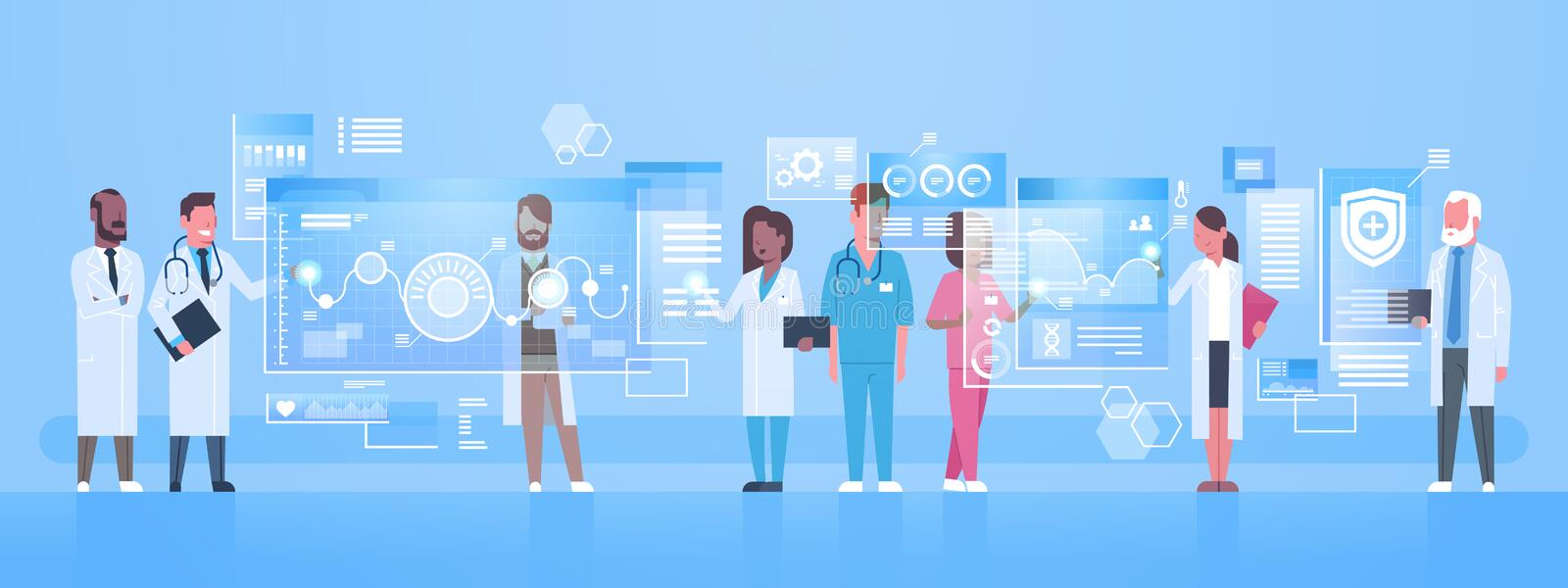 Diverse Doctors Group Use Virtual Computer Screen With Digital Buttons Innovation Technology Concept Modern Medical. Treatment Flat Vector Illustration stock illustration