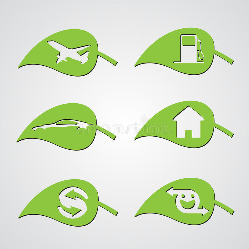 Download Diverse ecology leaf icons stock vector. Image of energy - 25747342