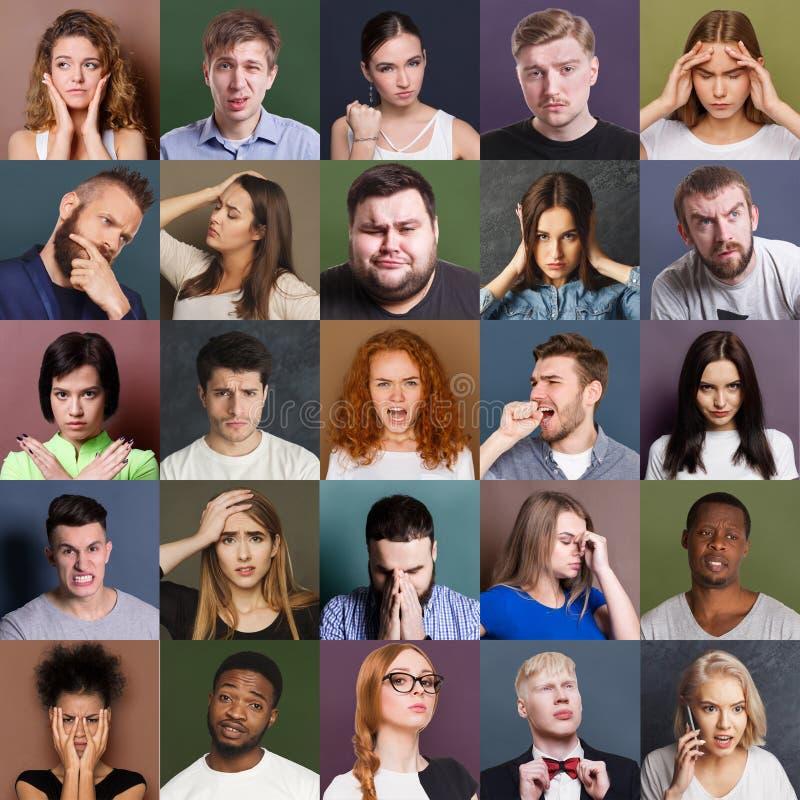 Diverse emozioni negative dei giovani fissate immagine stock libera da diritti