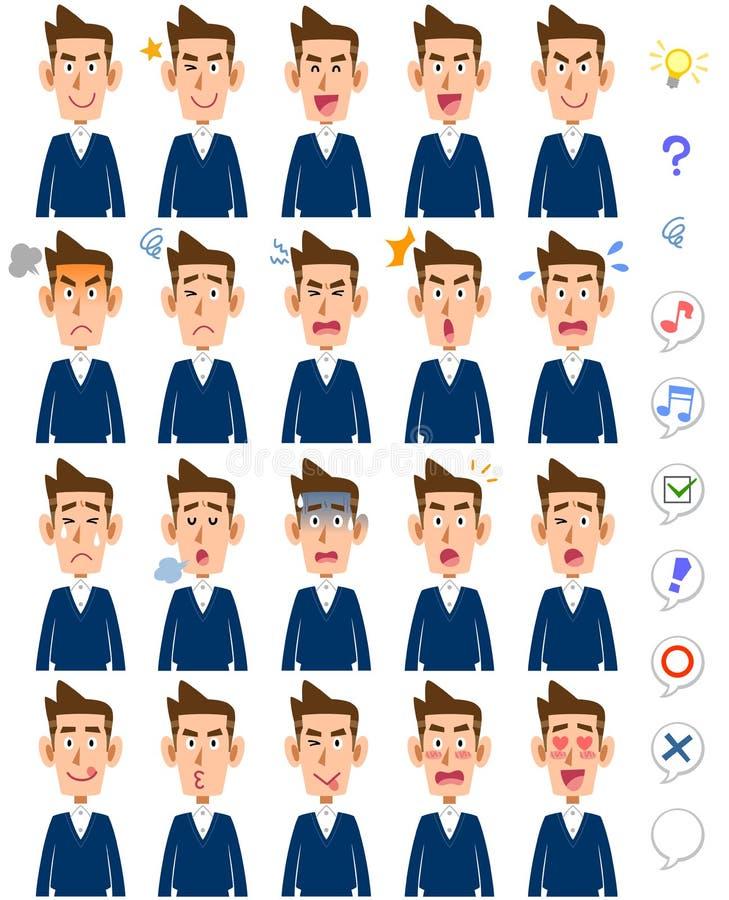 20 diverse espressioni facciali per gli uomini: padre, marito illustrazione di stock