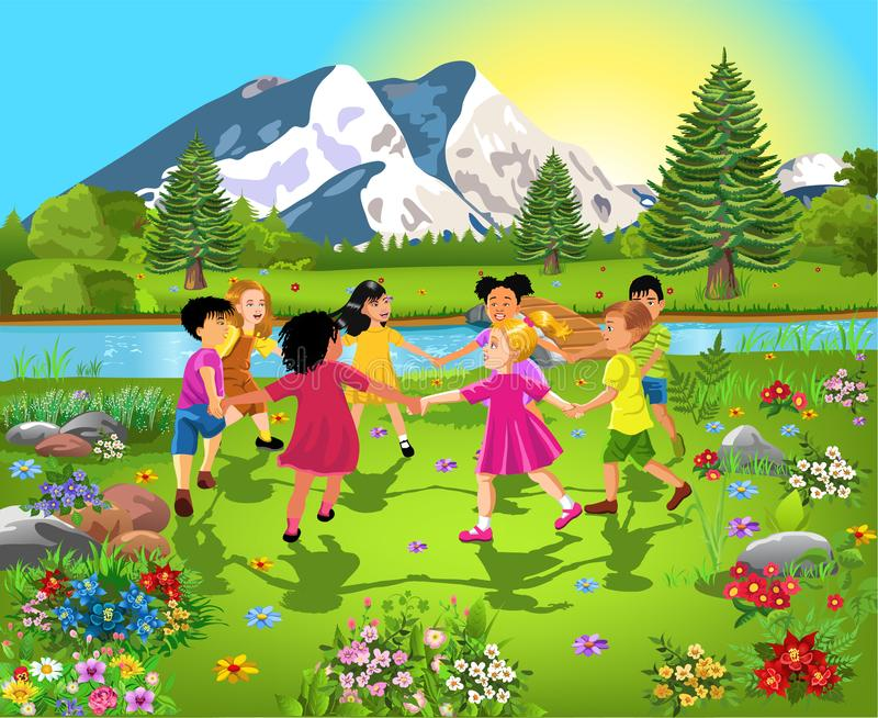 Diverse ethnic group of children having fun together, dancing in a circle in the middle of nature. Surrounded by flowers vector illustration