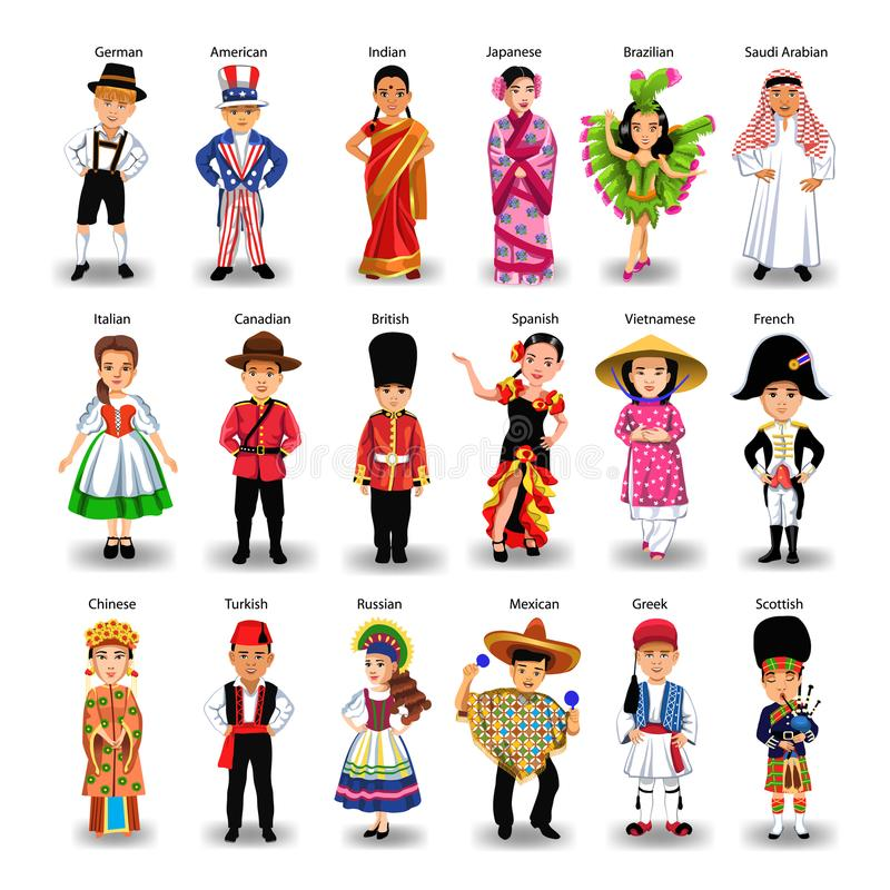 Diverse ethnic group of kids of different nationalities and countries. Isolated on a white background stock illustration