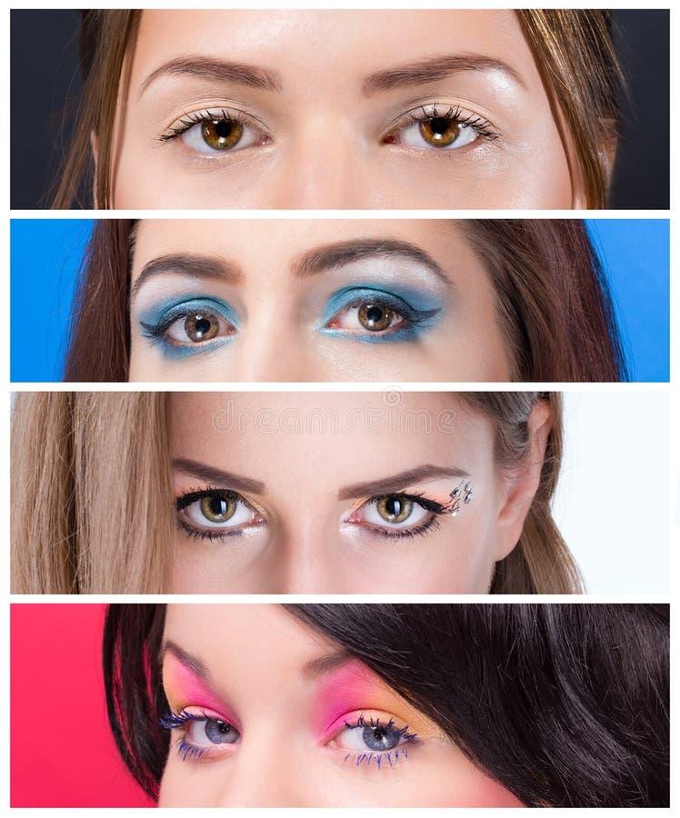Diverse fin de maquillage d'oeil  photographie stock libre de droits