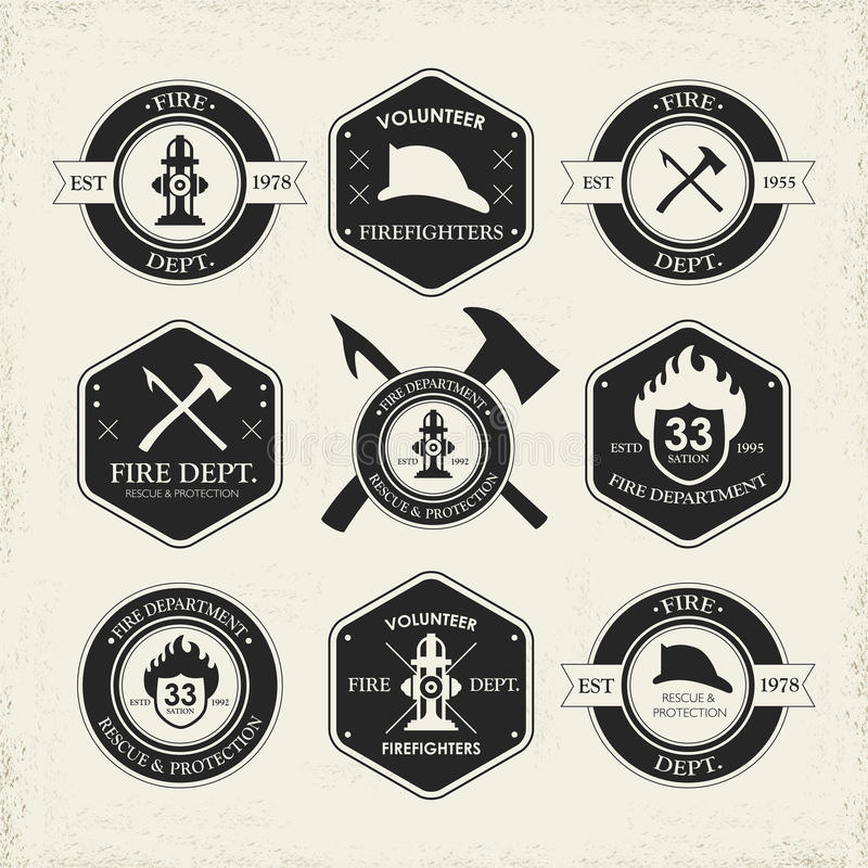 Diverse fire department emblems set. Isolated over beige background royalty free illustration