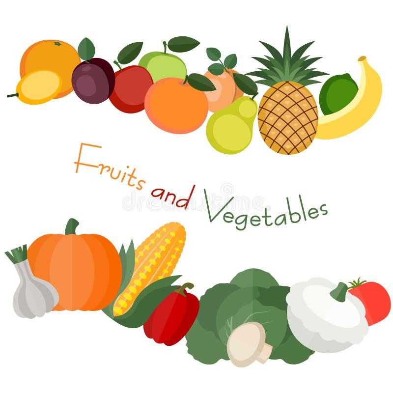 Diverse fruit en groenten royalty-vrije illustratie