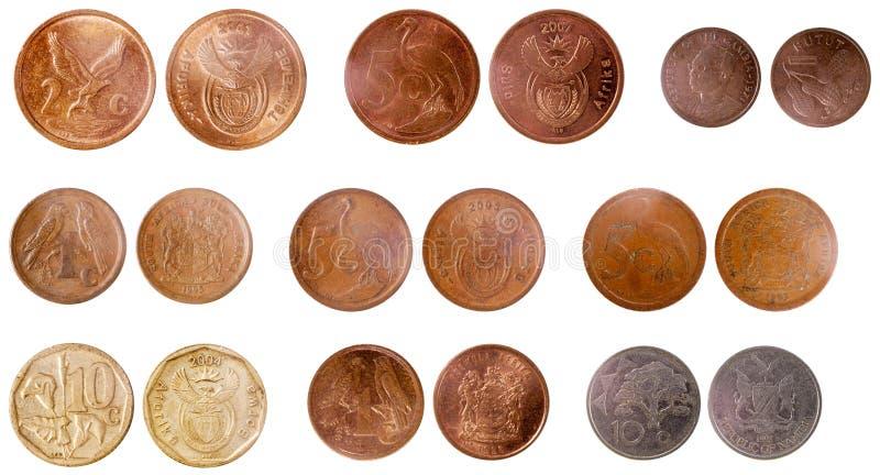 Diverse gamla mynt av africa arkivbild
