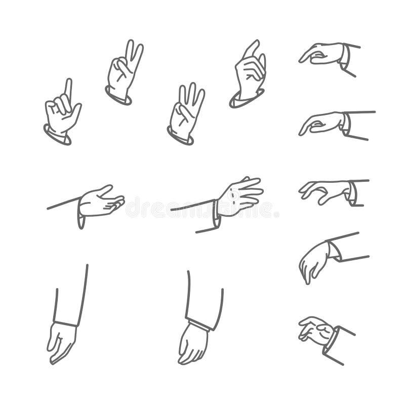 Diverse gebaren van menselijke die handen op een witte achtergrond worden geïsoleerd De vectorillustratie van de lijnkunst van di vector illustratie