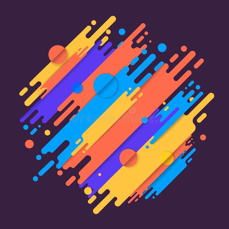 Diverse gekleurde rond gemaakte vormenlijnen in diagonaal ritme Vector royalty-vrije illustratie