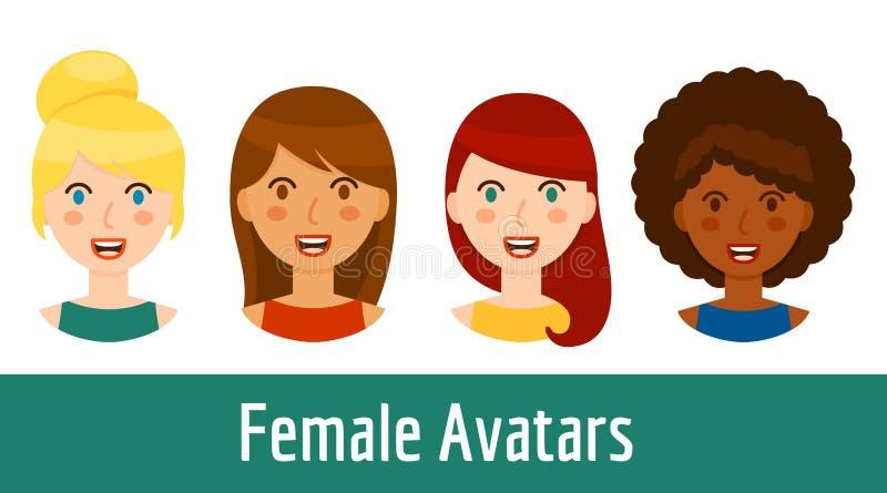 Diverse geplaatst vrouwenavatars stock illustratie