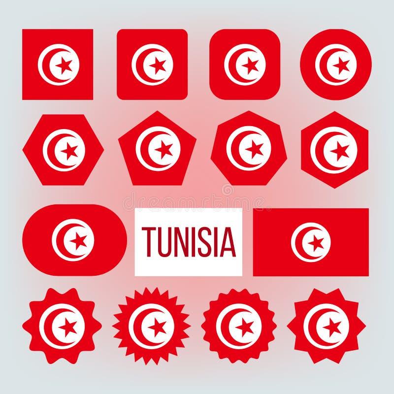 Diverse Geplaatste de Vormen Vector Nationale Vlaggen van Tunesië vector illustratie