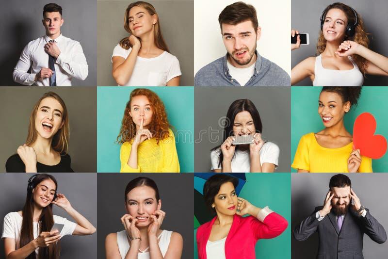 Download Diverse Geplaatste Jongeren Positieve En Negatieve Emoties Stock Afbeelding - Afbeelding bestaande uit grimacing, gevoel: 114225545