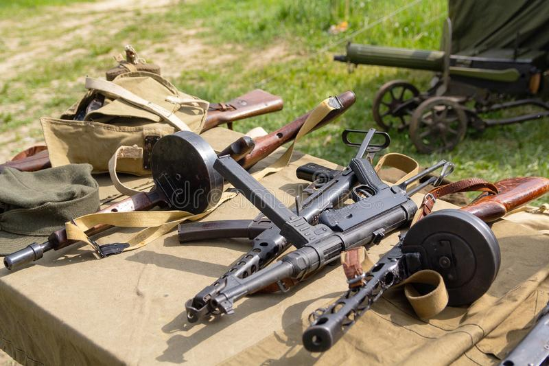 Diverse geweerwapens van de Tweede Wereldoorlog royalty-vrije stock afbeeldingen
