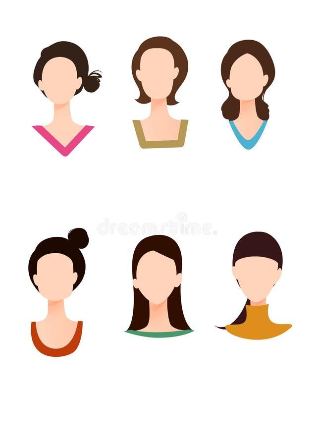 Diverse gezichtsvorm en kledingskraag stock afbeeldingen