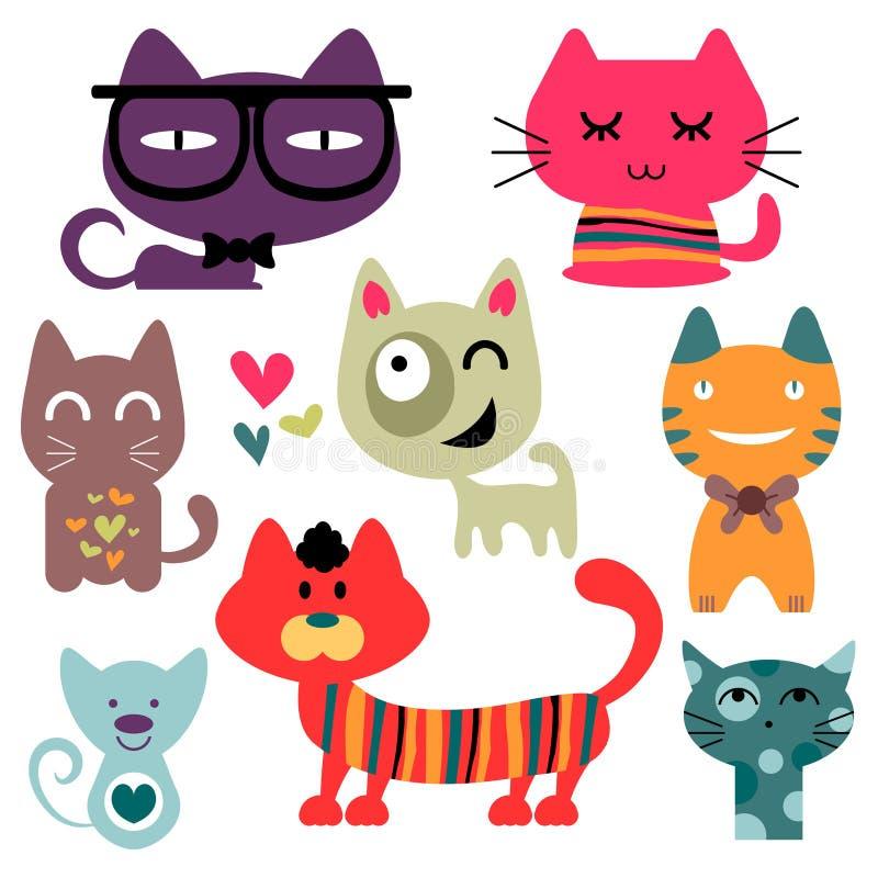 Diverse grappige geplaatste katten royalty-vrije illustratie