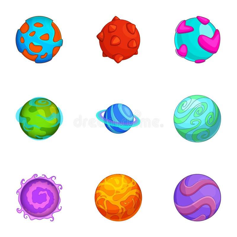 Diverse grappige geplaatste planetenpictogrammen, beeldverhaalstijl vector illustratie