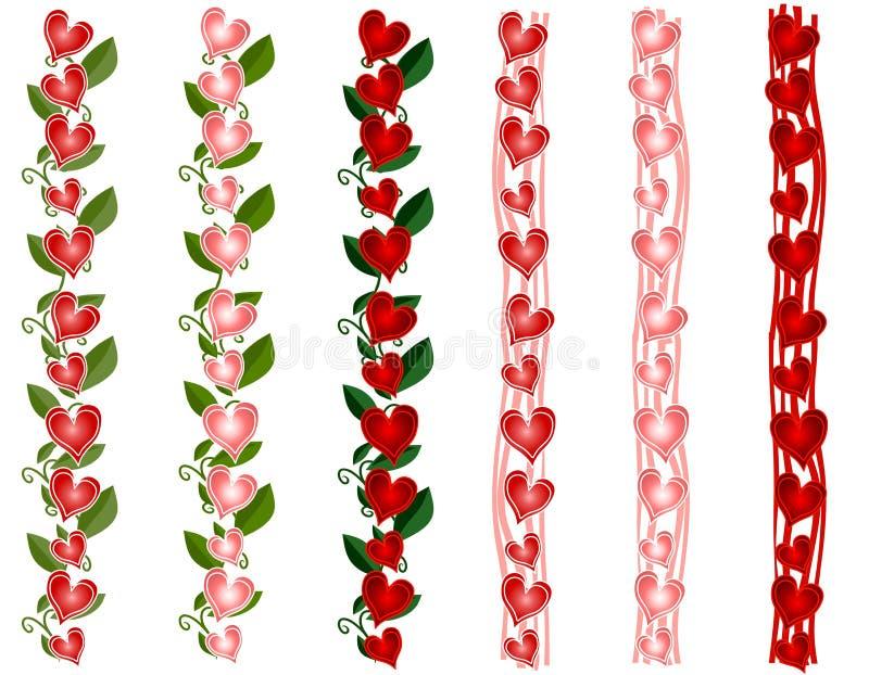 Diverse Grenzen van het Hart van de Dag van de Valentijnskaart stock illustratie