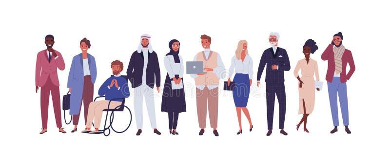 Diverse groep bedrijfsdiemensen, ondernemers of beambten op witte achtergrond worden geïsoleerd Multinationale onderneming vector illustratie
