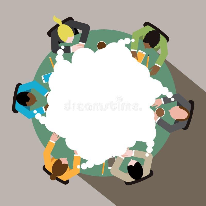 Diverse groep bedrijfsmannen en vrouwen die bij ronde conferentielijst denken vector illustratie