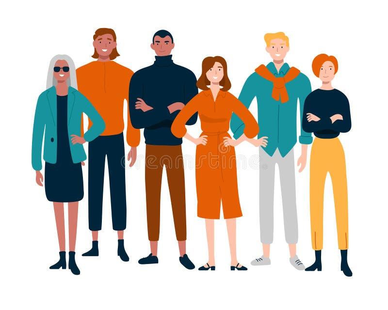 Diverse groep jongeren samen portret stock illustratie