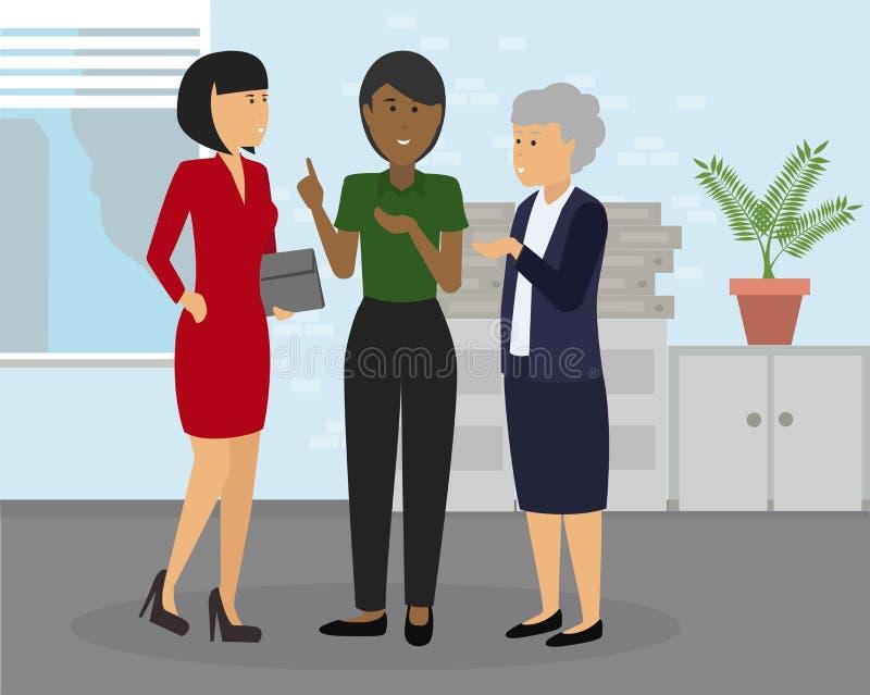 Diverse groep onderneemsters van het verschillende behoren tot een bepaald ras en leeftijd op kantoor vector illustratie
