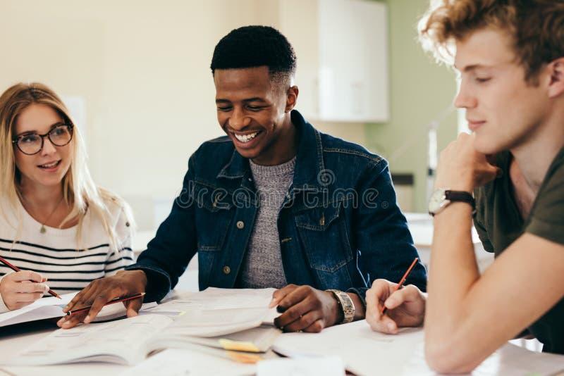 Diverse groep studenten die op nota's bespreken stock afbeelding