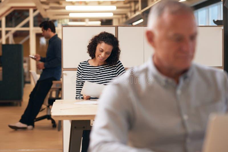 Diverse groep zakenlui aan het werk in een modern bureau royalty-vrije stock foto's