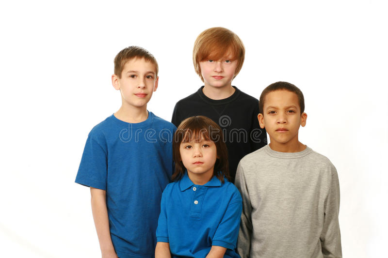 Diverse group of boys royalty free stock photo