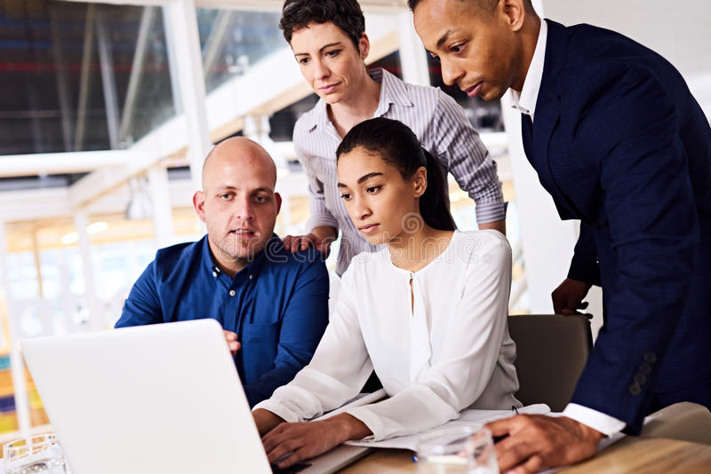Diverse group of business partners looking at laptop screen together stock photo