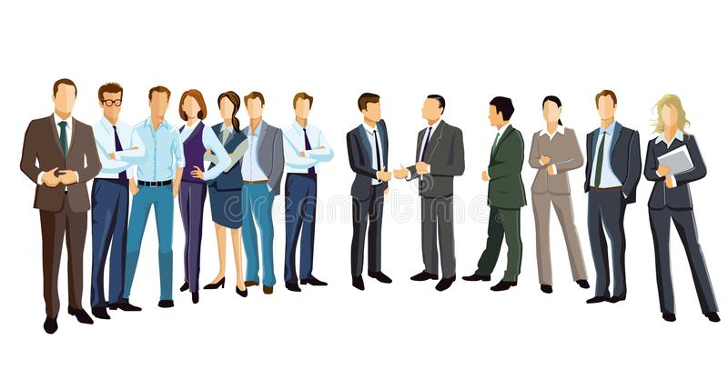Diverse group of business professionals. Illustration of a diverse group of business professionals wearing suits stock illustration