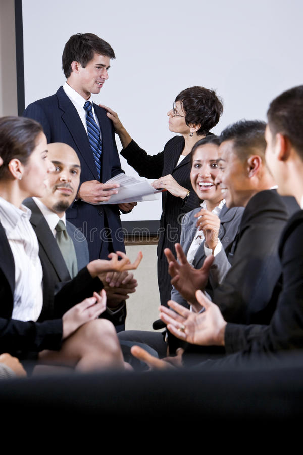 Diverse group of businesspeople conversing royalty free stock images