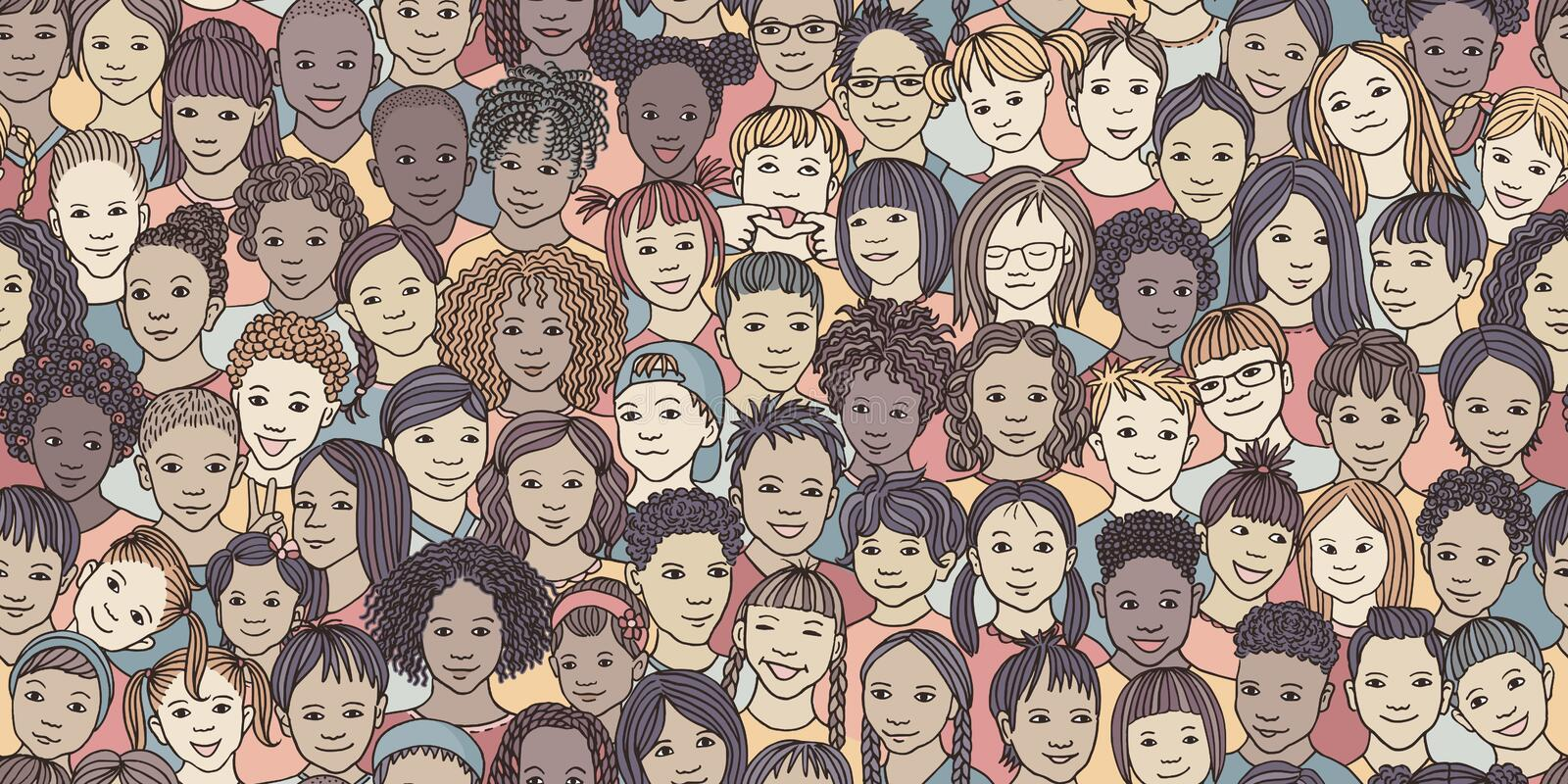 Diverse group of children, colourful illustration. Seamless banner of 70 different hand drawn kids` faces, kids and teens of diverse ethnicity royalty free illustration