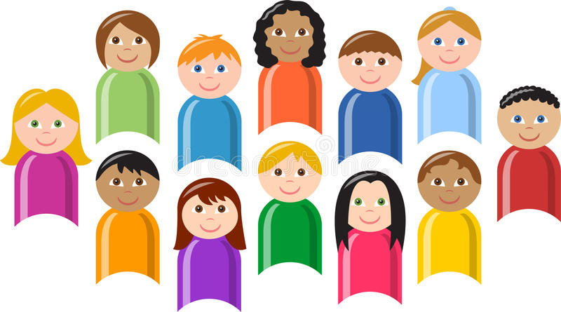 Diverse Group of Children/eps. Illustration of a large group of colorfully dressed, ethnically diverse children
