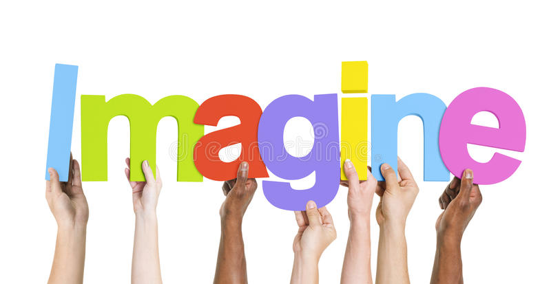 Diverse Group of Hands Holding Imagine.  stock image