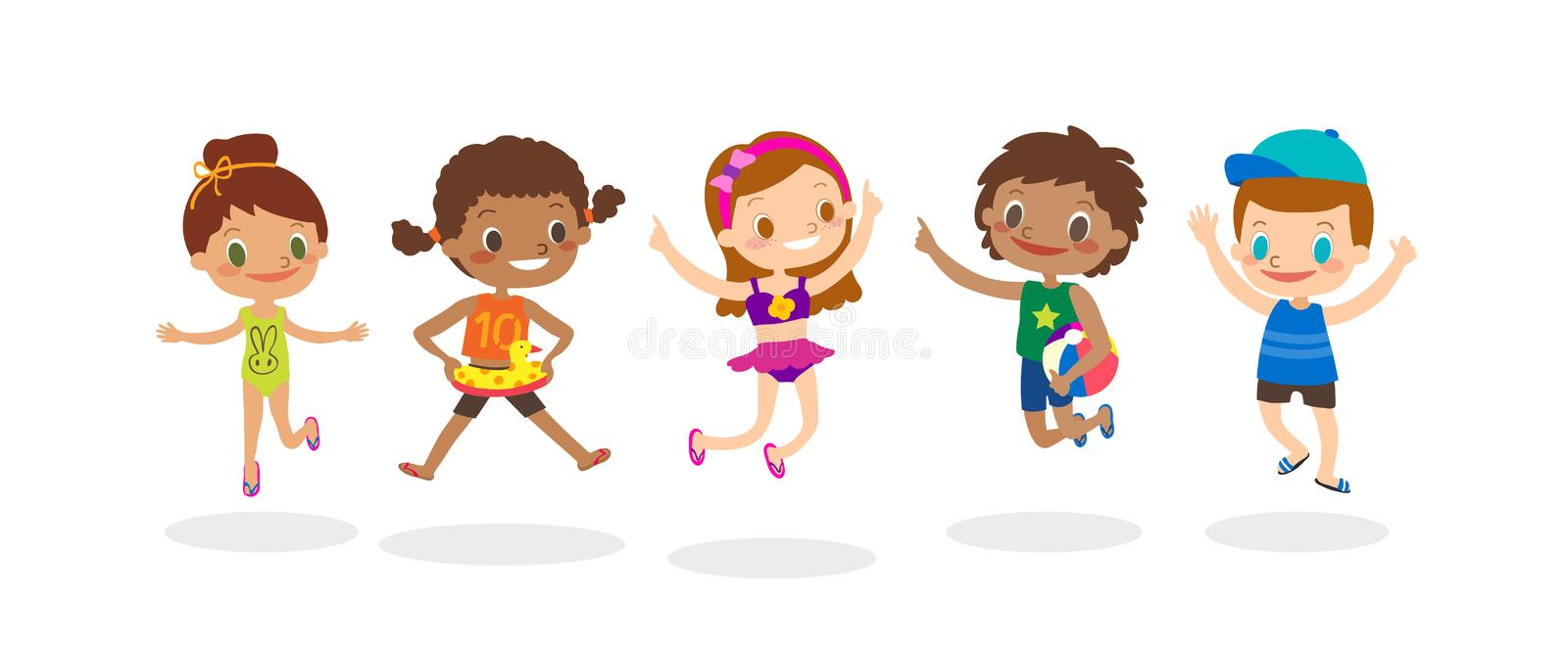 Diverse Group Of Kids Jumping isolated on white background, Happy Children with summer costume. cartoon illustration. Diverse Group Of Kids Jumping isolated on vector illustration