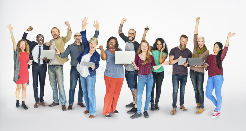 Diverse Group of People Community Togetherness Technology Concept stock photography