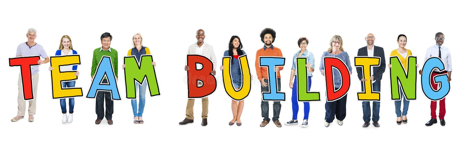 Diverse Group of People Holding Text Team Building.  stock images