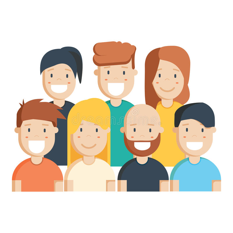 Diverse group of people, students or workplace. Cute and simple flat cartoon style. Isolated vector illustration vector illustration