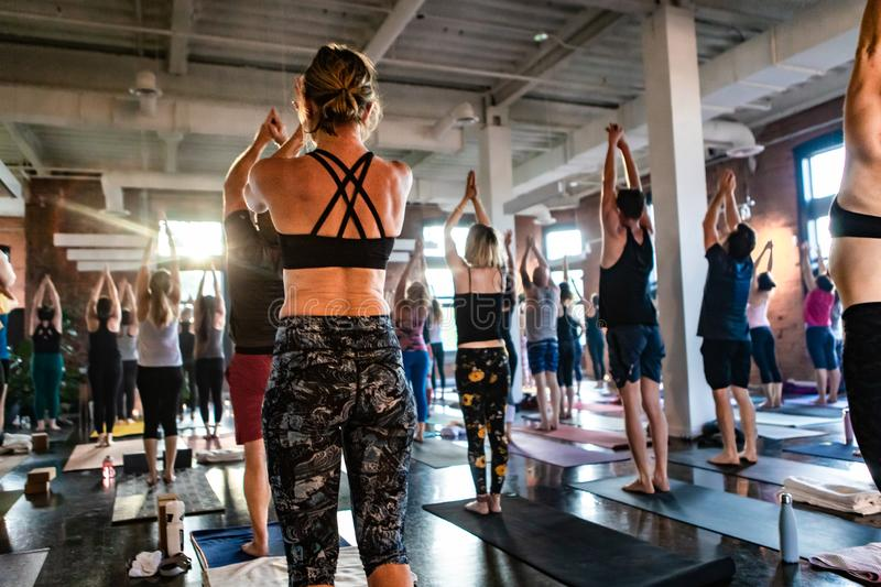 Diverse group of people in yoga class. stock photography