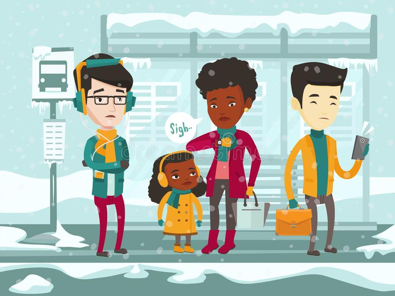 Frozen multicultural people waiting for bus. stock illustration