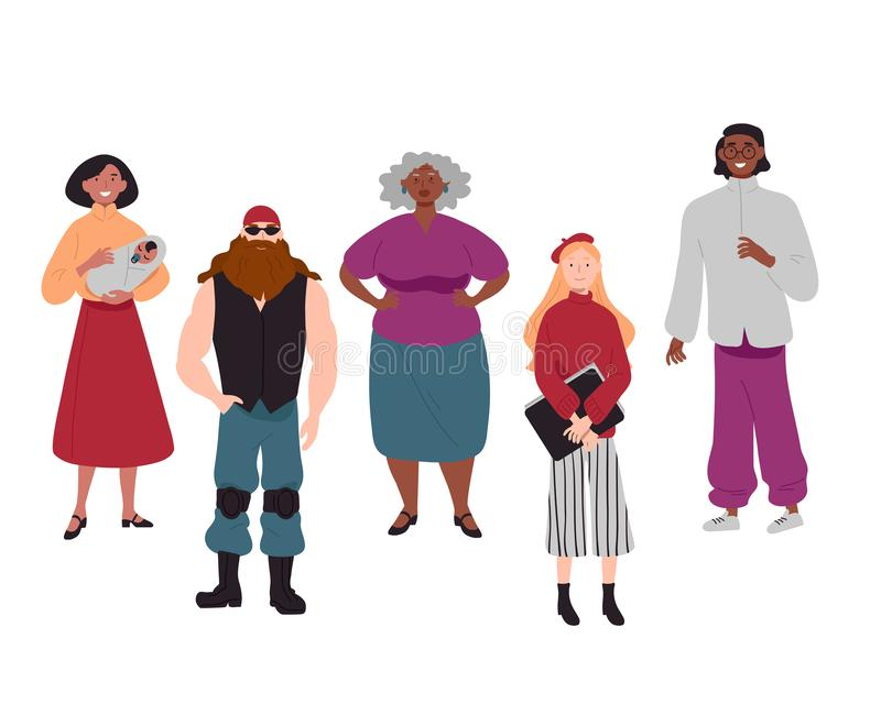 Diverse group of young people together portrait royalty free illustration