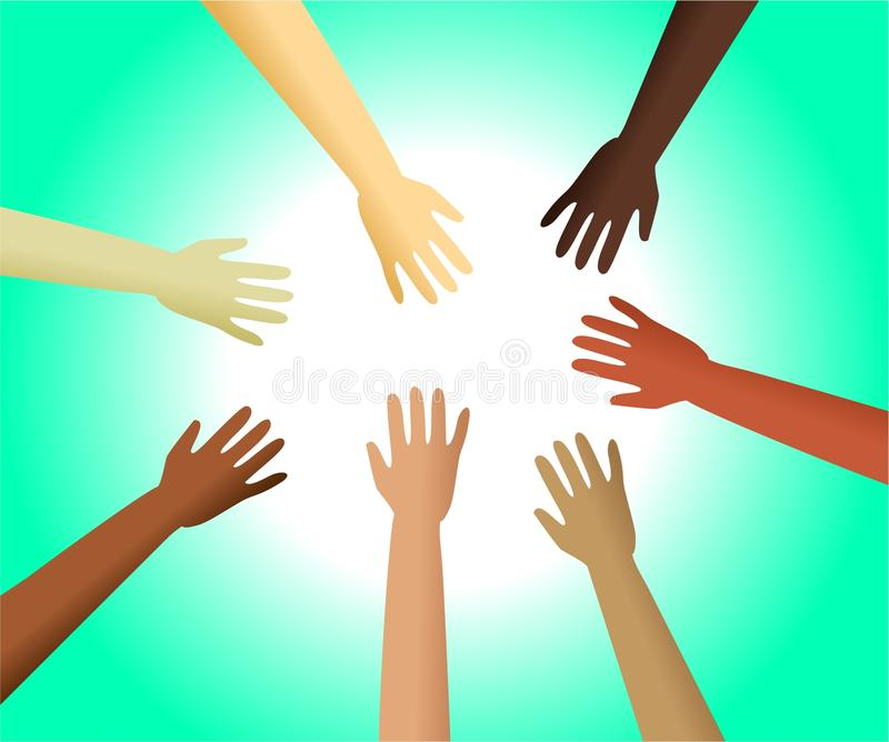 Diverse hands stock illustration