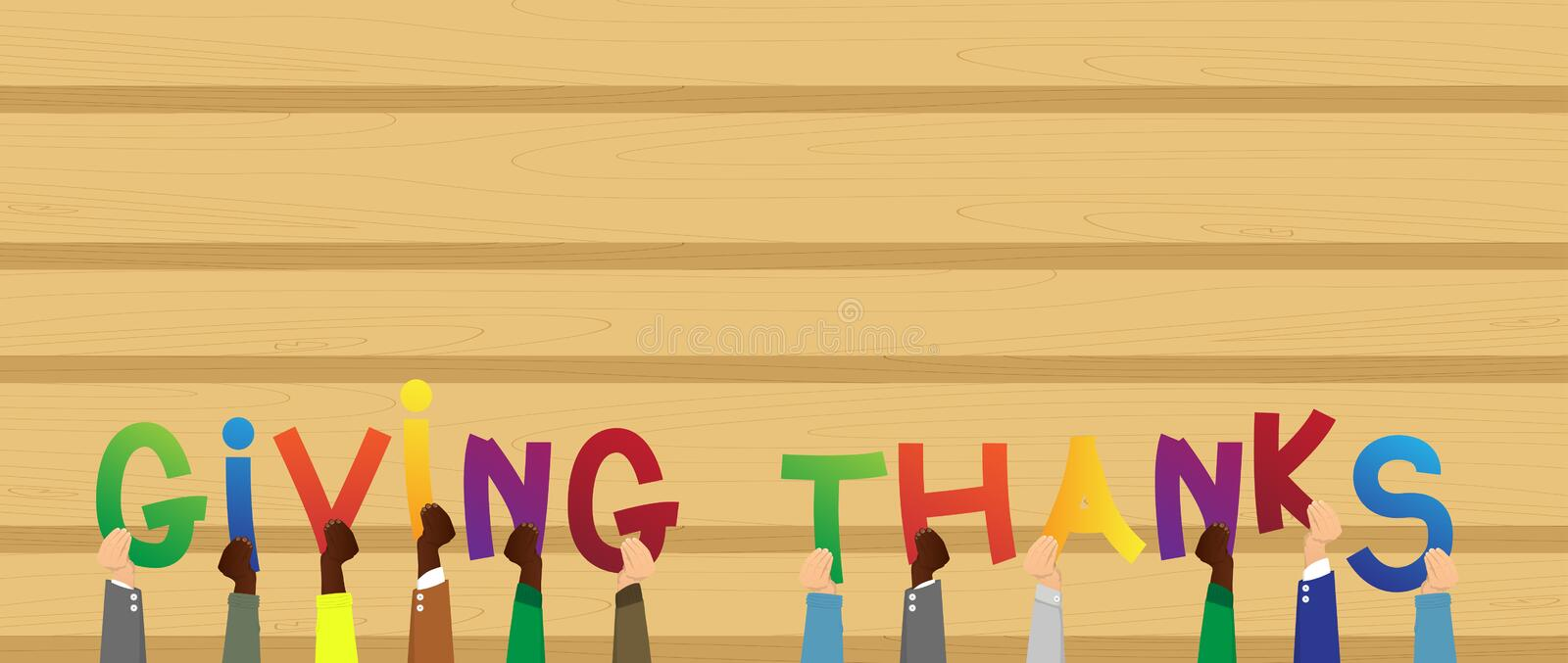 Hands holding the word Giving Thanks. vector illustration