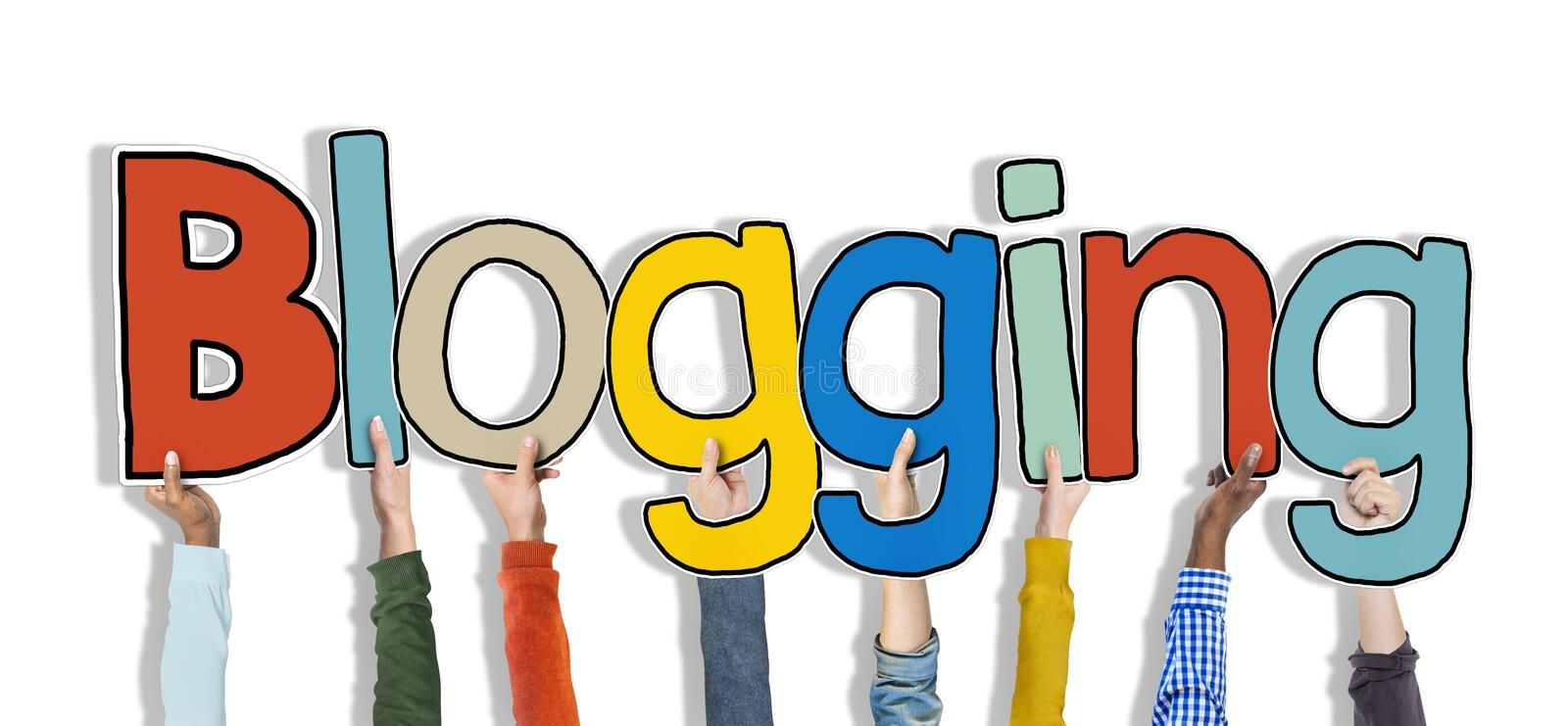 Download Diverse Hands Holding The Word Blogging Stock Image - Image: 45539601