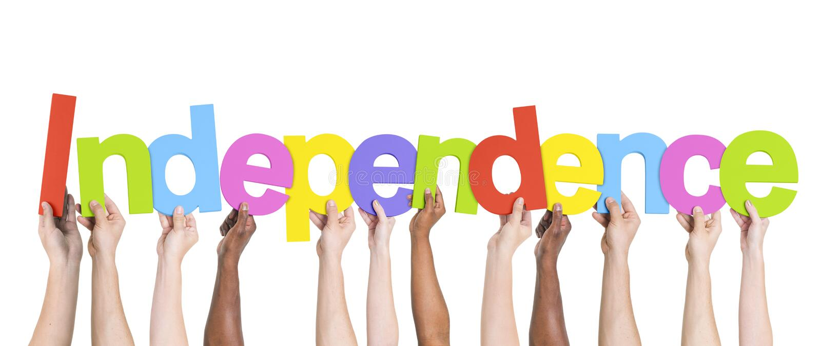 Diverse Hands Holding the Word Independence stock image