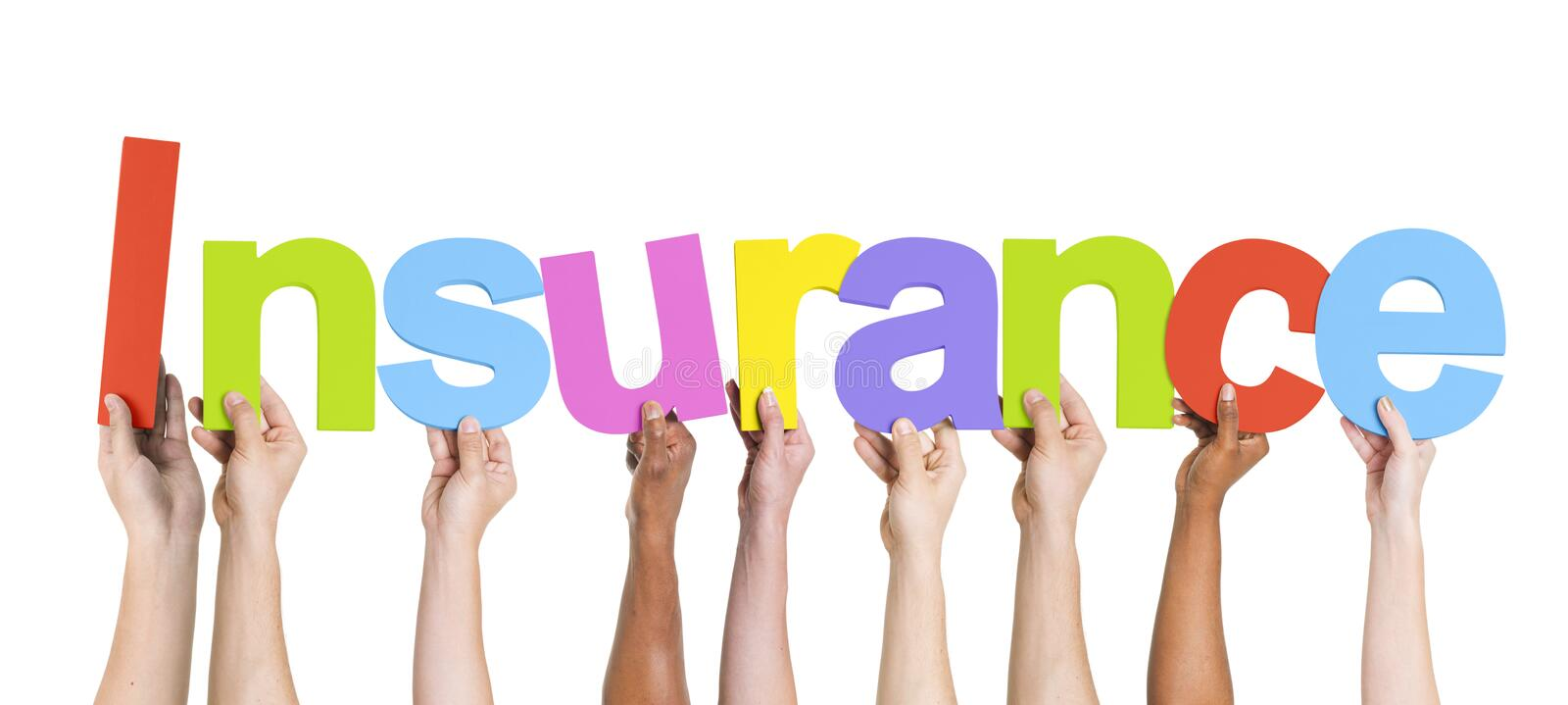 Diverse Hands Holding The Word Insurance stock images