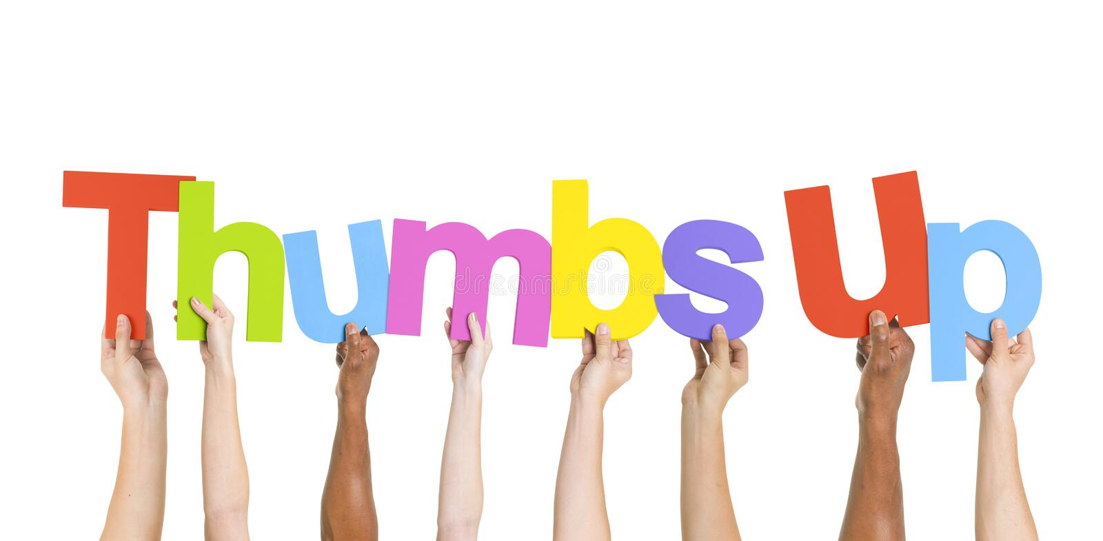 Diverse Hands Holding the Word Thumbs Up stock images