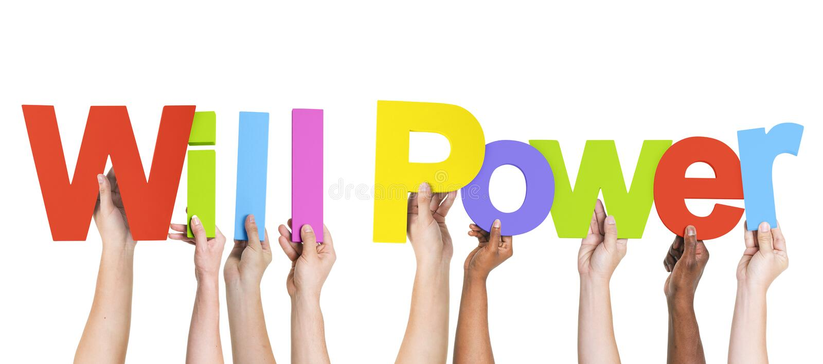Diverse Hands Holding the Words Will Power royalty free stock photos